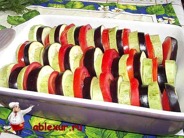 овощи для запеканки уложенные в форму