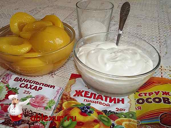 продукты для приготовления сметанного желе с фруктами