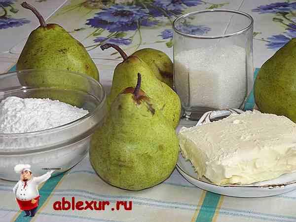 продукты для приготовления грушевого пирога