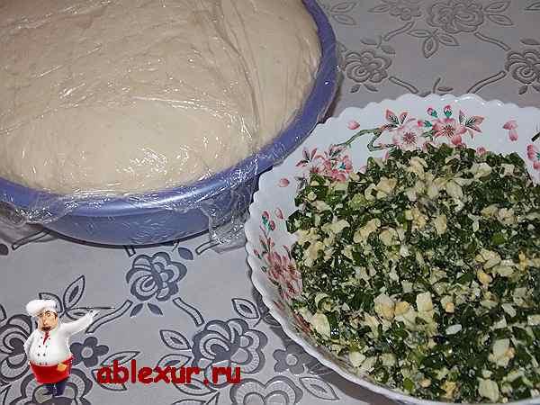 поднявшееся тесто и начинка для пирога с луком