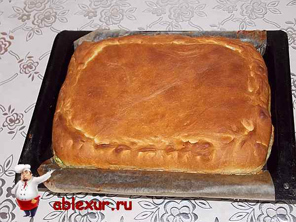 запеченный пирог с начинкой из зеленого лука и яйиц