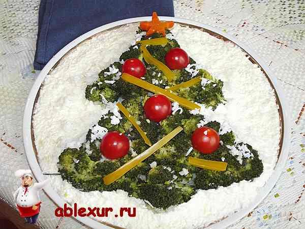 салат из брокколи елочка