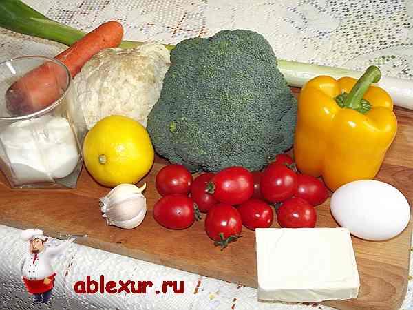 продукты для салата из брокколи и цветной капусты