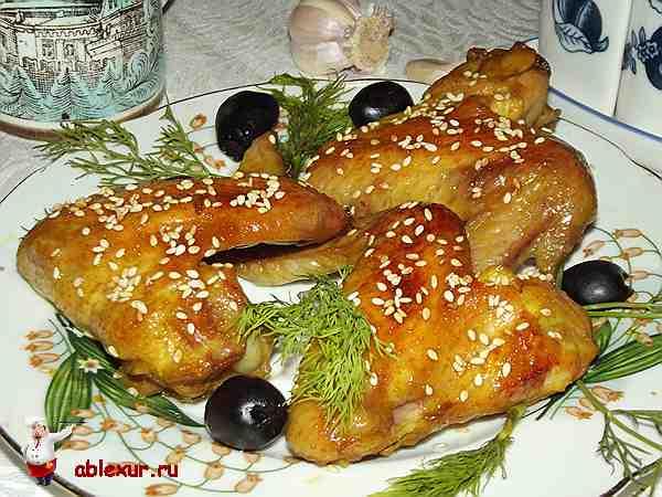 куриные крылышки в духовке в медовом соусе