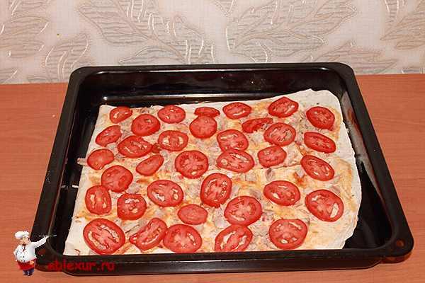 уложенные на курицу кружочки помидоров