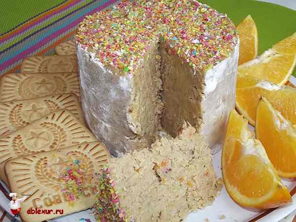 апельсиновый торт из печенья