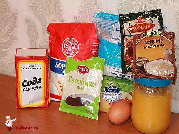 продукты для медовых пряников