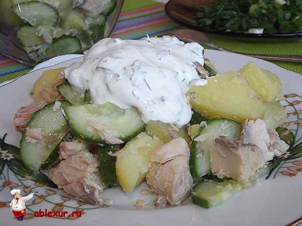 салат из консервированной горбуши с огурцом и картофелем