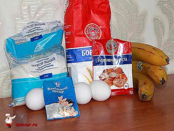 продукты для банановой шарлотки