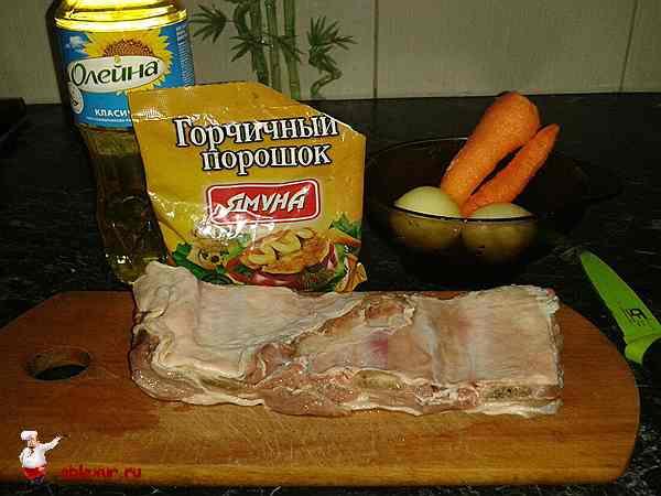 ребрышки, горчица, лук, морковь