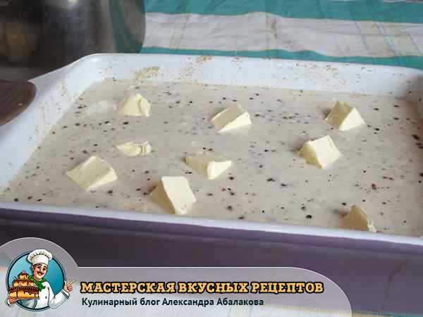 запеканка из гречки в форме с кусочками масла