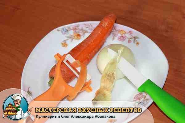 очистить овощи для салата с вермишелью
