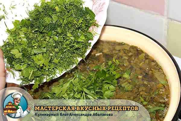 положить в куриный суп со щавелем рубленную зелень