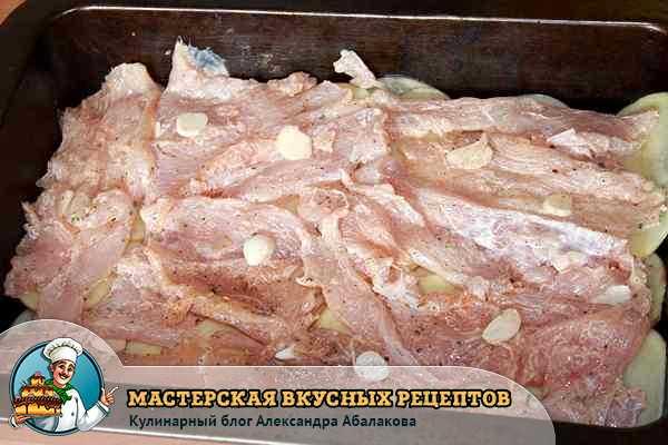 уложенное на картофель куриное филе