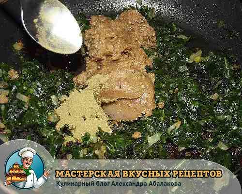 добавить орехи в шпинат