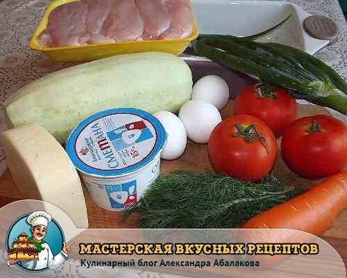 кабачок помидоры курица зелень