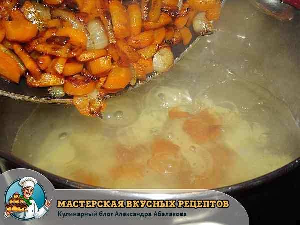 положить обжаренные лук и морковь в воду