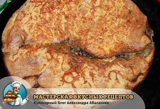 заливной пирог с грибной начинкой