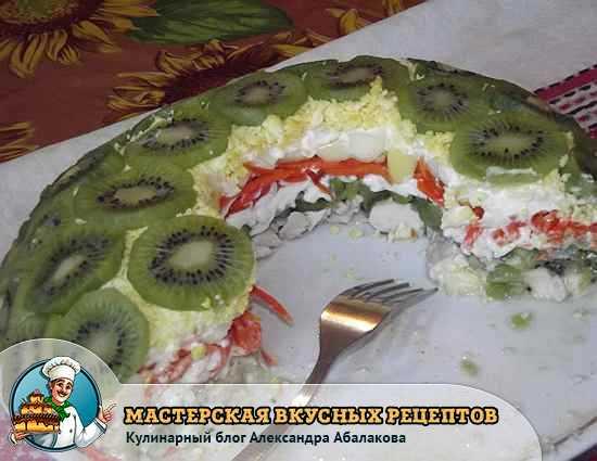 рецепт с фото салата с киви и курицей