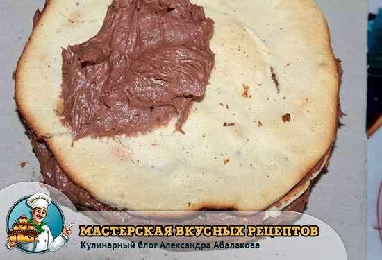 смазать бисквит шоколадным кремом