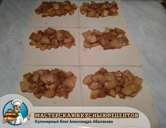 яблочная начинка на слоеном тесте