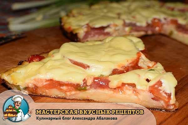 кусочек пиццы без кефира и сметаны