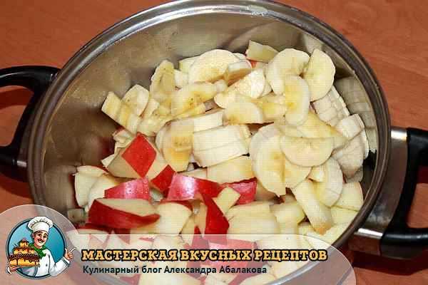 нарезанные яблоки и банан