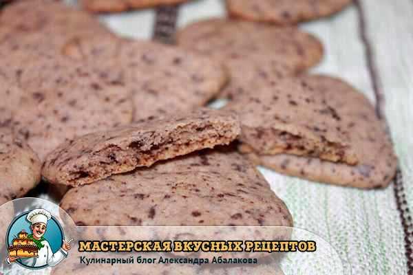 разломленное печенье с шоколадной крошкой