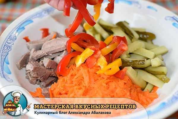 смешать морковь огурец язык