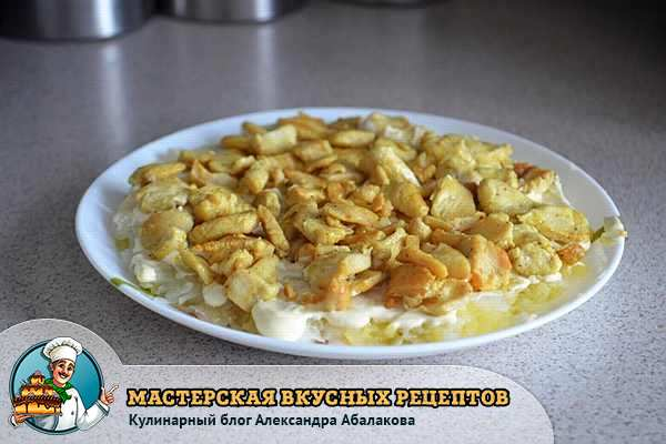 жареная грудка на картошке