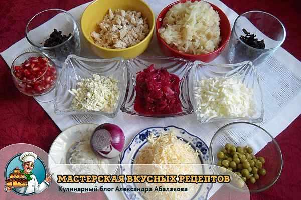 измельченные продукты для салата