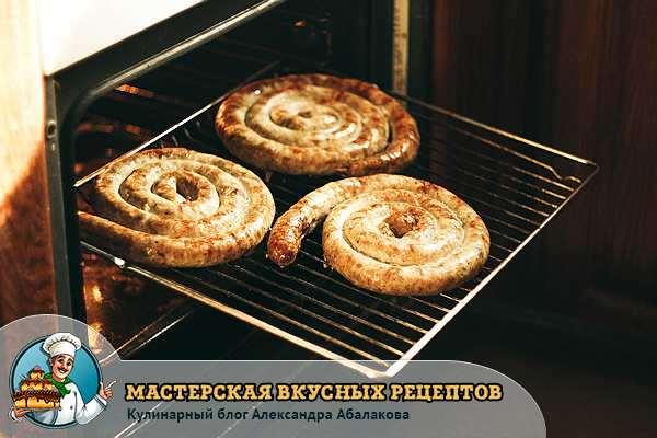 колбаса на решетке в духовке