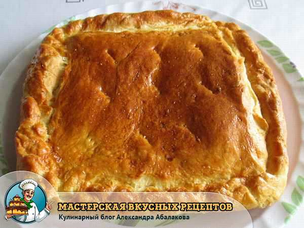 испеченный пирог с картошкой и курицей