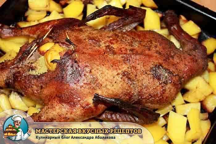 запеченная утка лежит на картошке