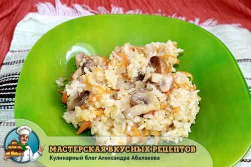 плов из риса грибов и овощей