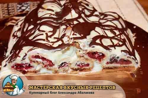 вишневый тортик политый шоколадом