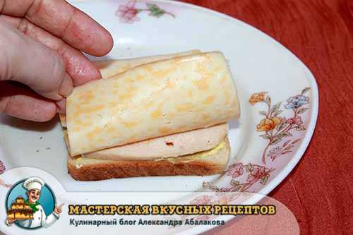 пластинка сыра на курице