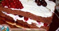 Торт с вишней и взбитыми сливками из шоколадного бисквита