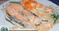 Рецепт запечённой в духовке кеты со сметаной и овощами— похвастайтесь рыбкой перед гостями
