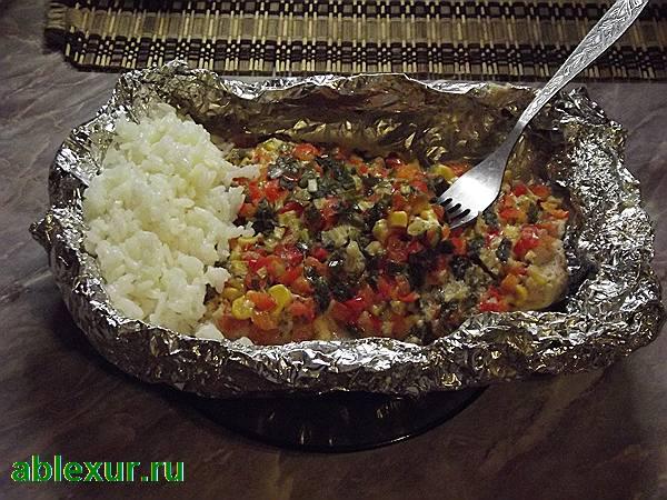 филе палтуса в духовке с рисом