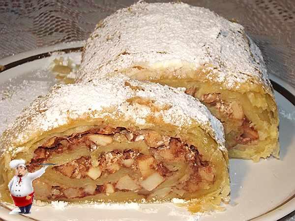 шарлотка слоеное тесто с яблоками рецепт с фото