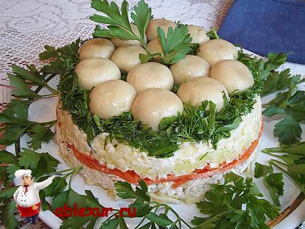 салат грибная поляна с курицей