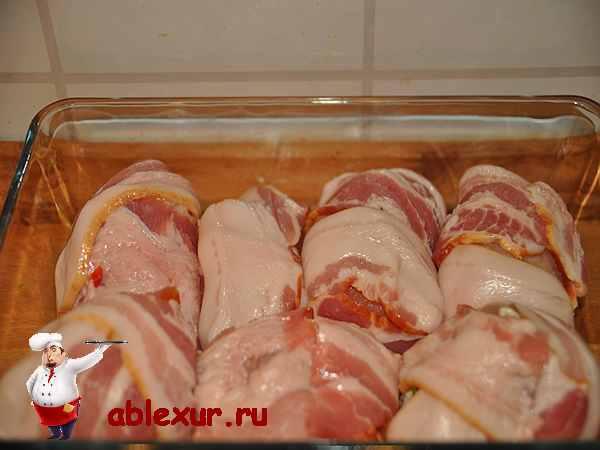рулетики из курица в форме для запекания