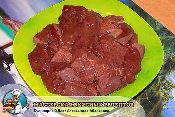 нарезанная свиная печень для котлет