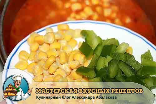 кукуруза и зеленый перец